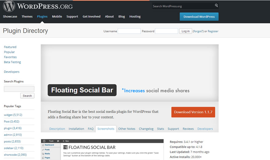 floating social bar plugin for WordPress