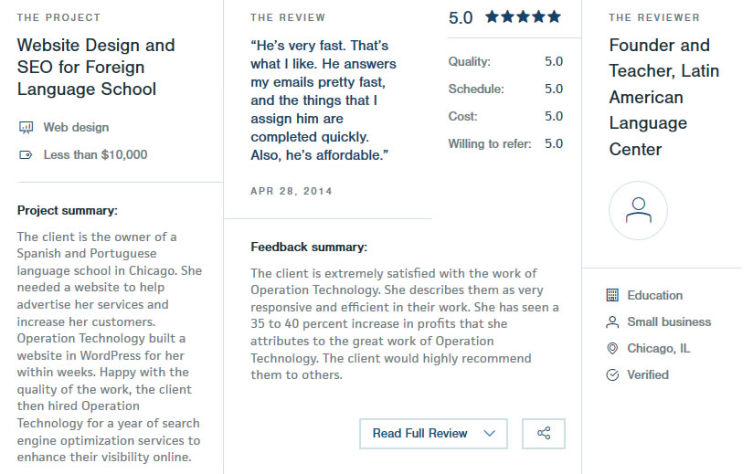 Reviews of top Chicago digital agencies