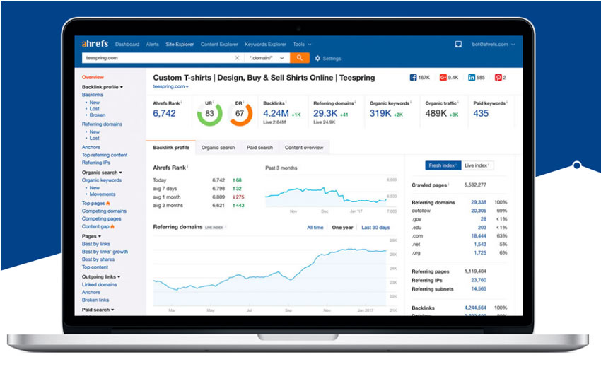 Ahrefs backlinks tool