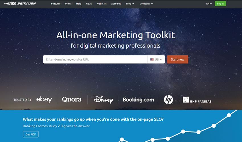 SEMrush digital marketing tool