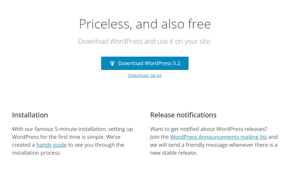 Wordpress Download Screen