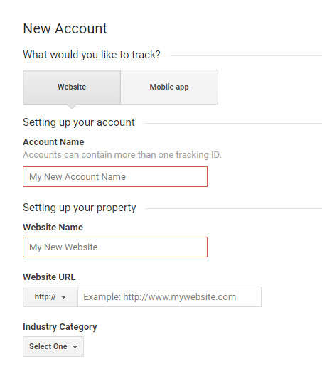 Google Analytics Sign-up Form