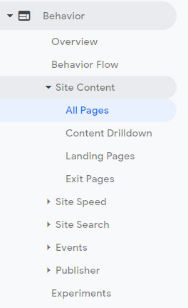 Google Analytics Tracking Site Content