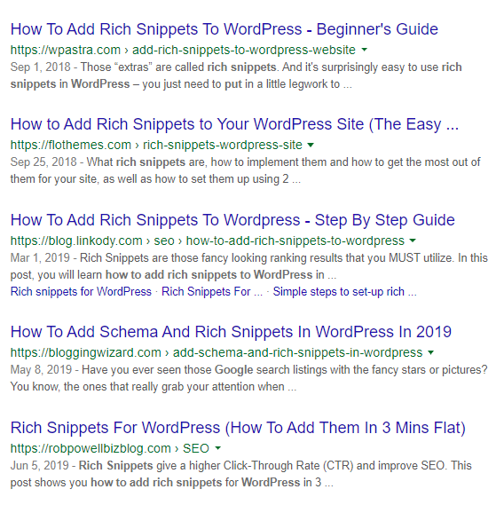 Rich Snippets Google Search Results Page