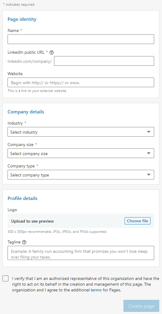 Enter Your LinkedIn Page Identity