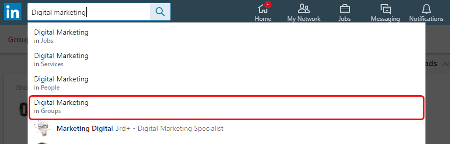 Search ror LinkedIn Industry Groups