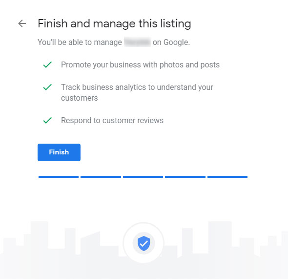 Finish Google Business Listing