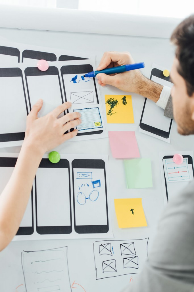 Designers planning ui design layout